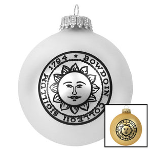 Bowdoin Seal Glass Ball Ornament