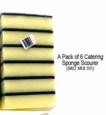 A Pack of 6 Catering Sponge Scourer