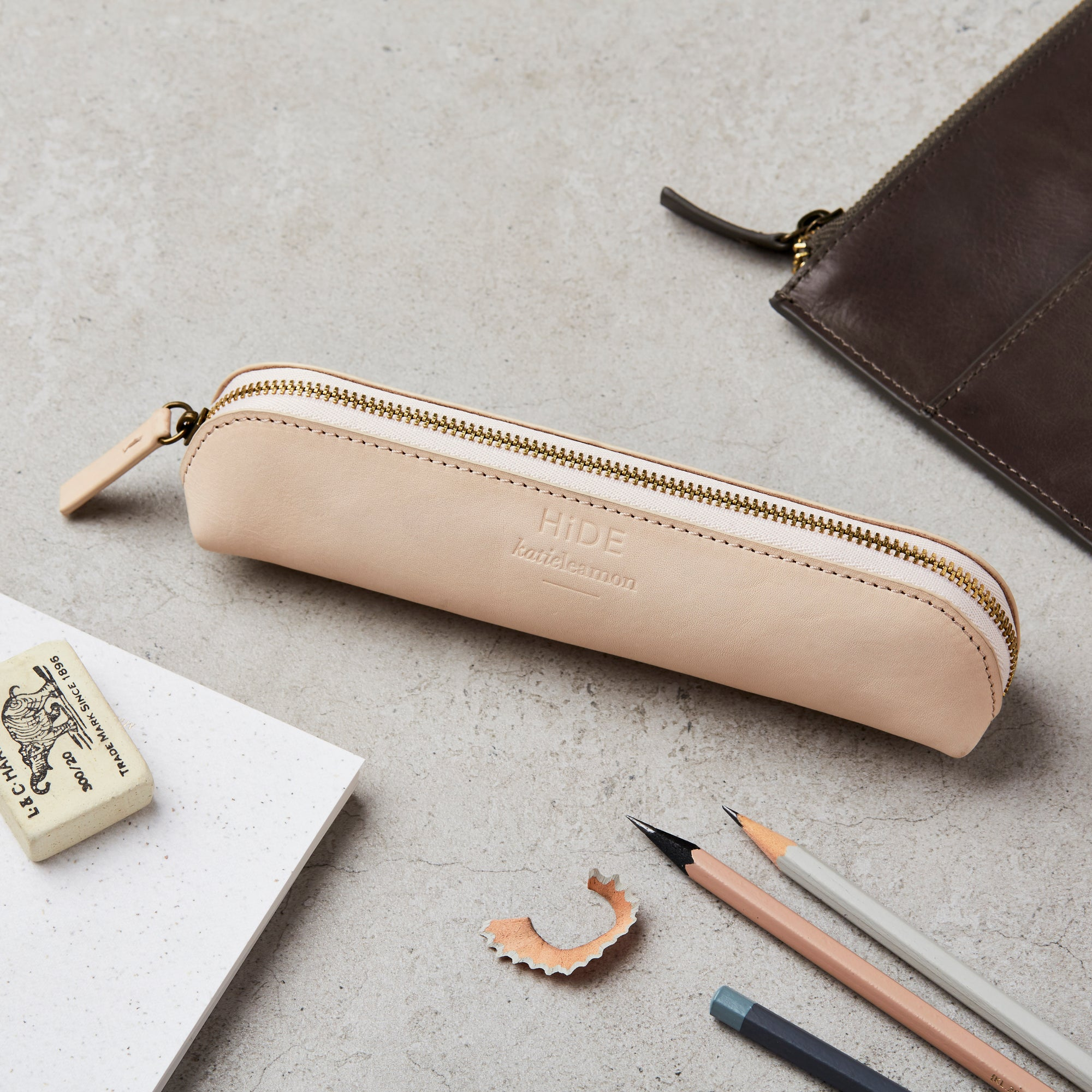 Hide Zip Pencil Case Beige