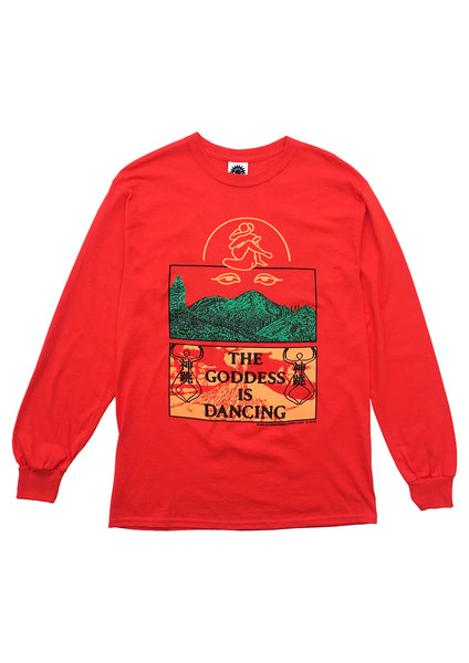 THE GODDESS IS DANCING LS TEE - RED