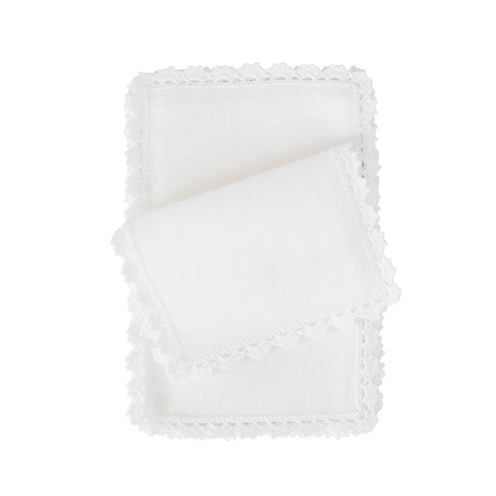 Bella Fold-over Cocktail Napkins - White