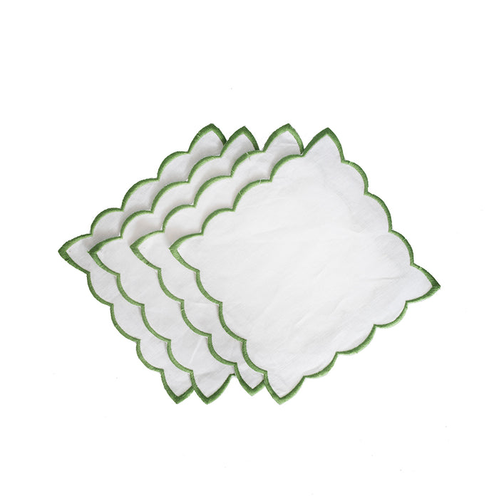 Scallop Cocktail Napkins - White & Green