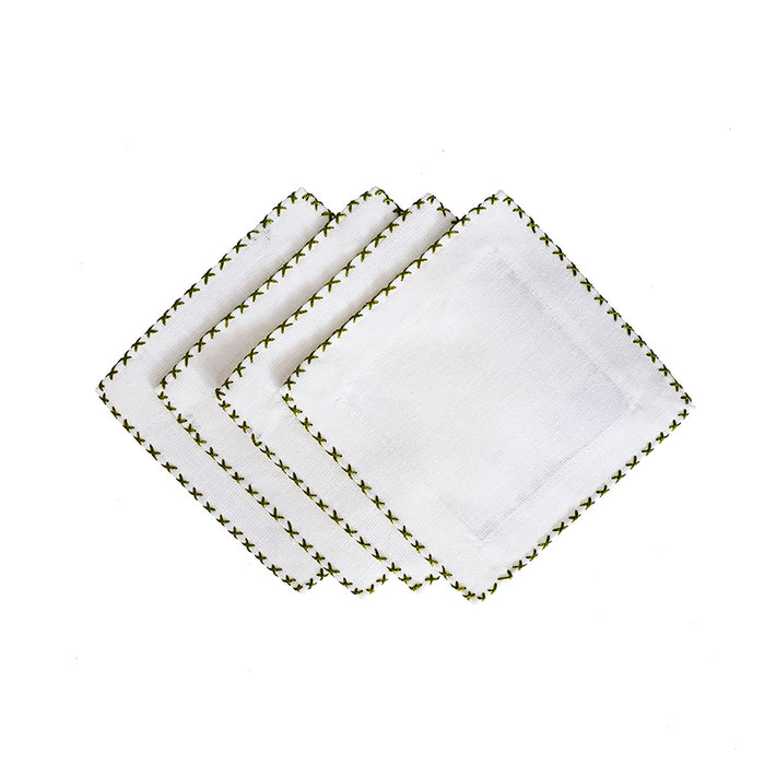 Cross Stitch Cocktail Napkins - Avocado