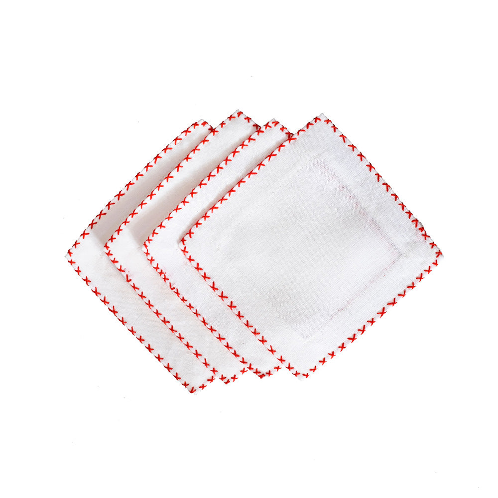 Cross Stitch Cocktail Napkins - Coral