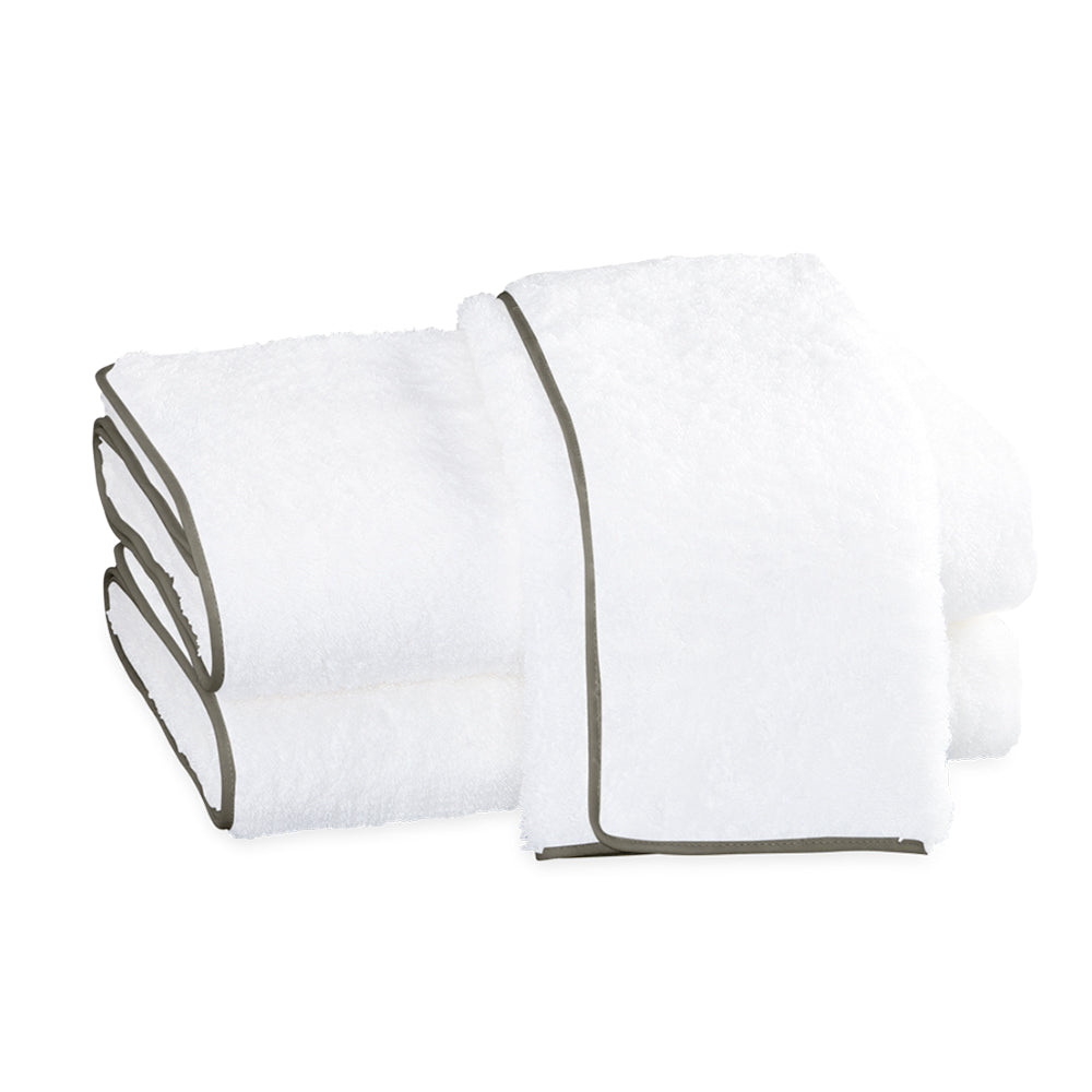 Cairo Straight Edge Hand Towel - White & Smoke Grey