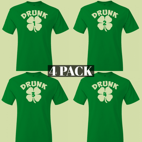 4 Pack - Drunk 1 Shamrock Tee