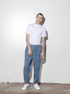 Pleated Baggy Jean in Indigo by Oak