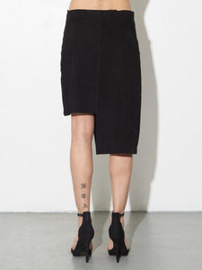 LA Suede Moto Skirt in Black by Oak