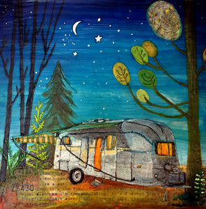 Airstream Camper - hand embellished print on wood