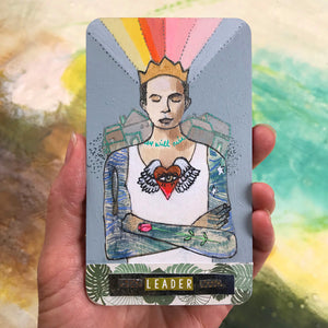 Leader - Hand Painted Wooden Oracle Card