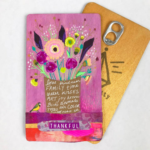 Thankful - Hand Painted Wooden Oracle Card