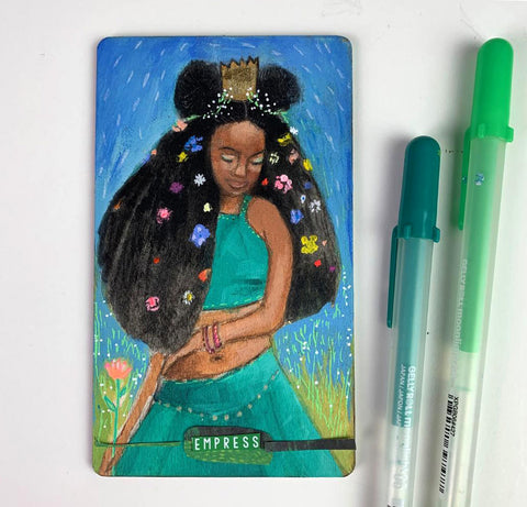 Empress - Hand Painted Wooden Oracle Card