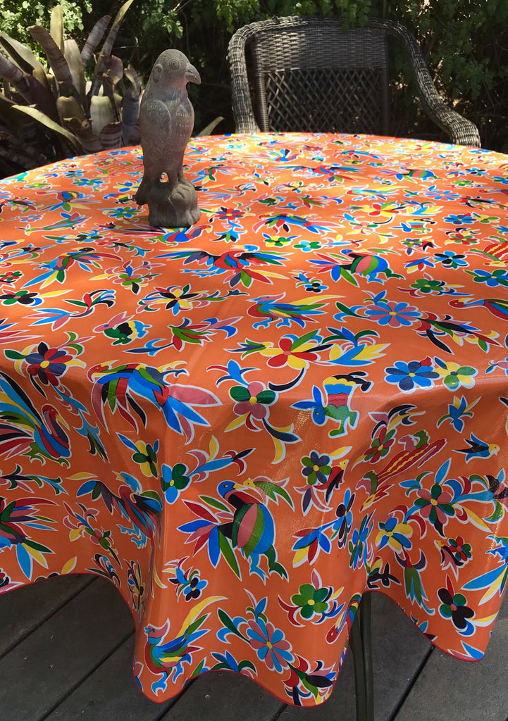 "Aztec Orange 68"" Round Tablecloth"