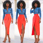 High Recommend Street Fashion Skirts High Waist Front Split Women Skirtmodkily-modkily