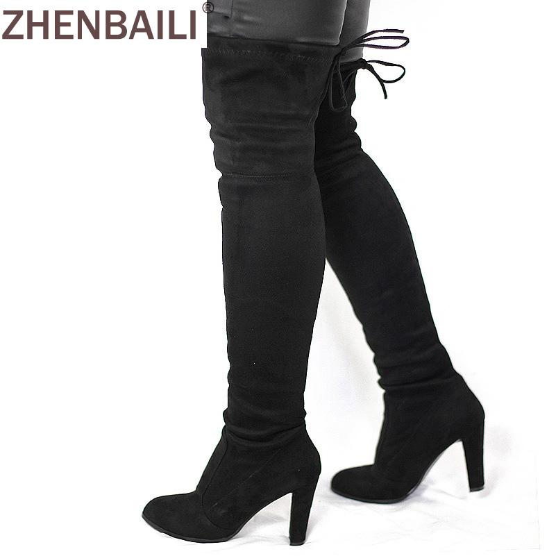 Women Faux Suede Thigh High Boots Fashion Over the Knee Boot Stretchmodkily-modkily