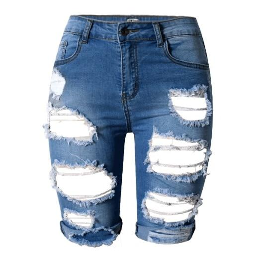 New Knee Length Denim Shorts Women Vintage Short Jeans Ripped Distressed Highmodkily-modkily