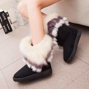 Fox Fur Warm Autumn Winter Wedges Snow Fox Snow Women Australia Bootsmodkily-modkily