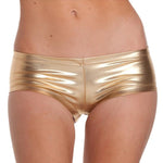 Womens Low Waisted Sexy Metallic Rave Dance Shorts Shiny Dance Goldmodkily-modkily
