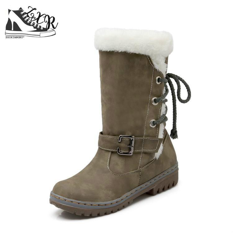 Zuoxiangru 2017 Warm Fur Tactical Boots Winter Outdoor Women Ankle Boots Fashionmodkily-modkily