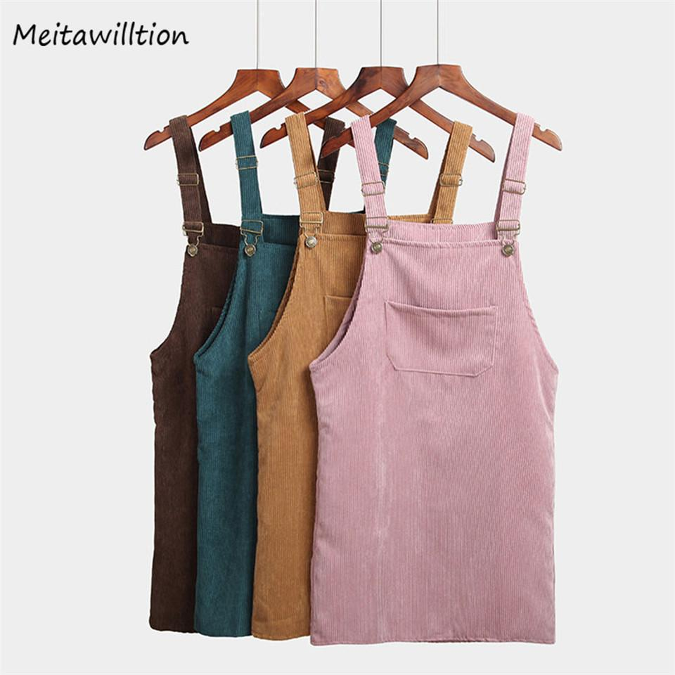 2018 Summer Spring Women Casual Pockets Suspender Skirt Ladies Corduroy Sleeveless Overallsmodkily-modkily