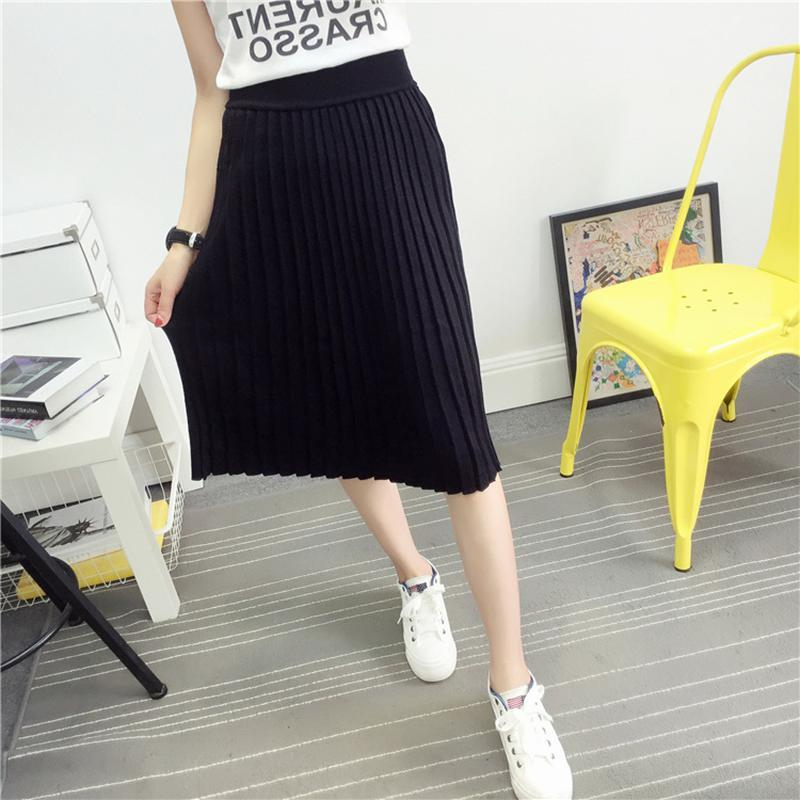 Women's Cute Pleated Korean Midi Skirt 2018 Autumn Winter Casual High Waistmodkily-modkily