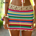CWLSP Fashion Stripe Knit Pencil Skirts Women Summer Hollow Out Mini Skirtmodkily-modkily
