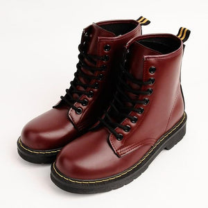 Women's Winter 18 Waterproof Artificial Leather Boots Women's Martin Boots British Bigmodkily-modkily