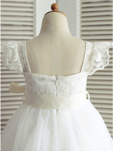 A Line Square Neck Cap Sleeves Flower Girl Dresses - NICEOO