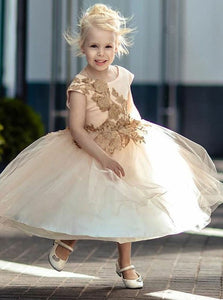 A Line Round Neck Short Sleeve Tulle Flower Girl Dresses - NICEOO