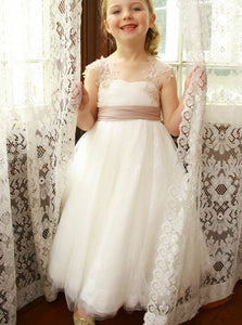 A Line Sweetheart Sleeveless Tulle Flower Girl Dresses - NICEOO