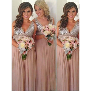 Sexy Pink A Line V Neck Sleeveless Chiffon Bridesmaid Dresses Prom Dresses - NICEOO