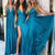 Sexy Blue Sweetheart Empire Waist Side Split Bridesmaid Dresses Long Prom Dresses