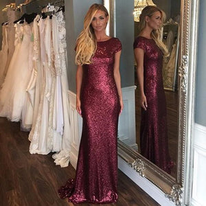 Sexy Burgundy Round Neck Backless Affordable Sequin Bridesmaid Dresses Evening Dresses
