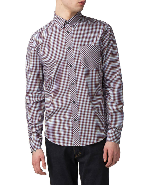 Long-Sleeve Core Gingham Shirt - Wine