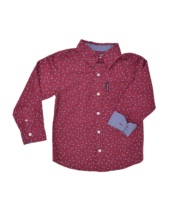 Boys' Red Button-Down Shirt with Navy Dot Pattern (Sizes 8-18)