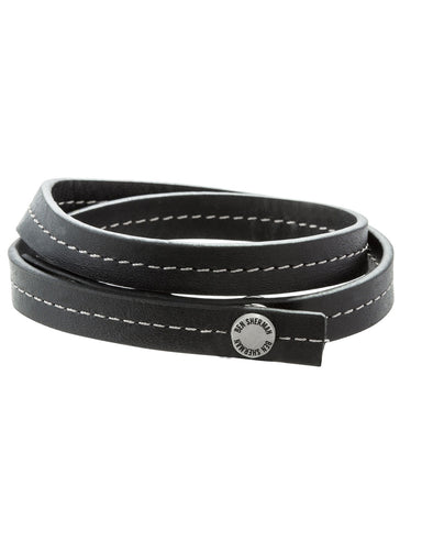 Black Leather Men's Bracelet