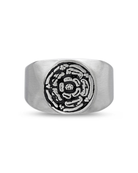 Steel Black Enamel Flower Design Ring