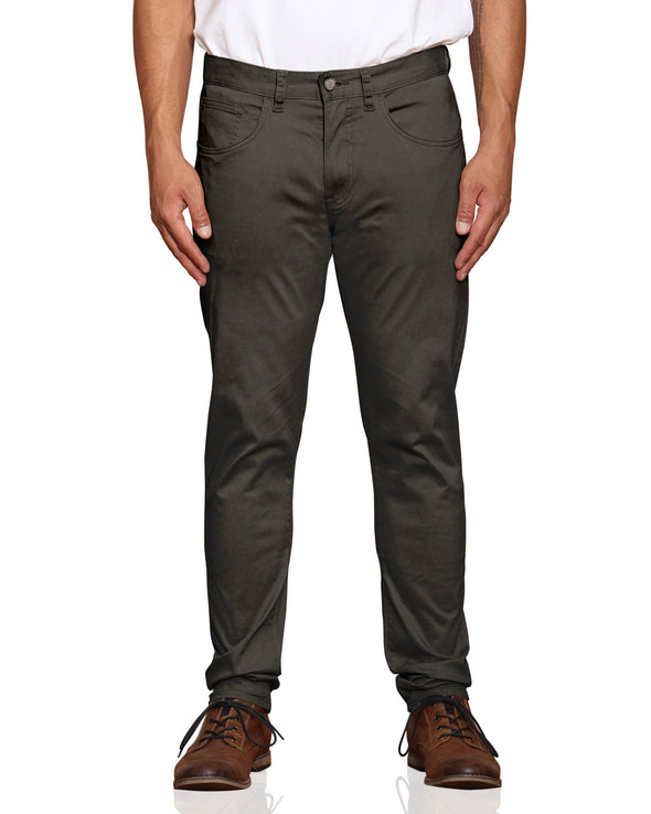Stretch Sateen Five-Pocket Pant - Moss