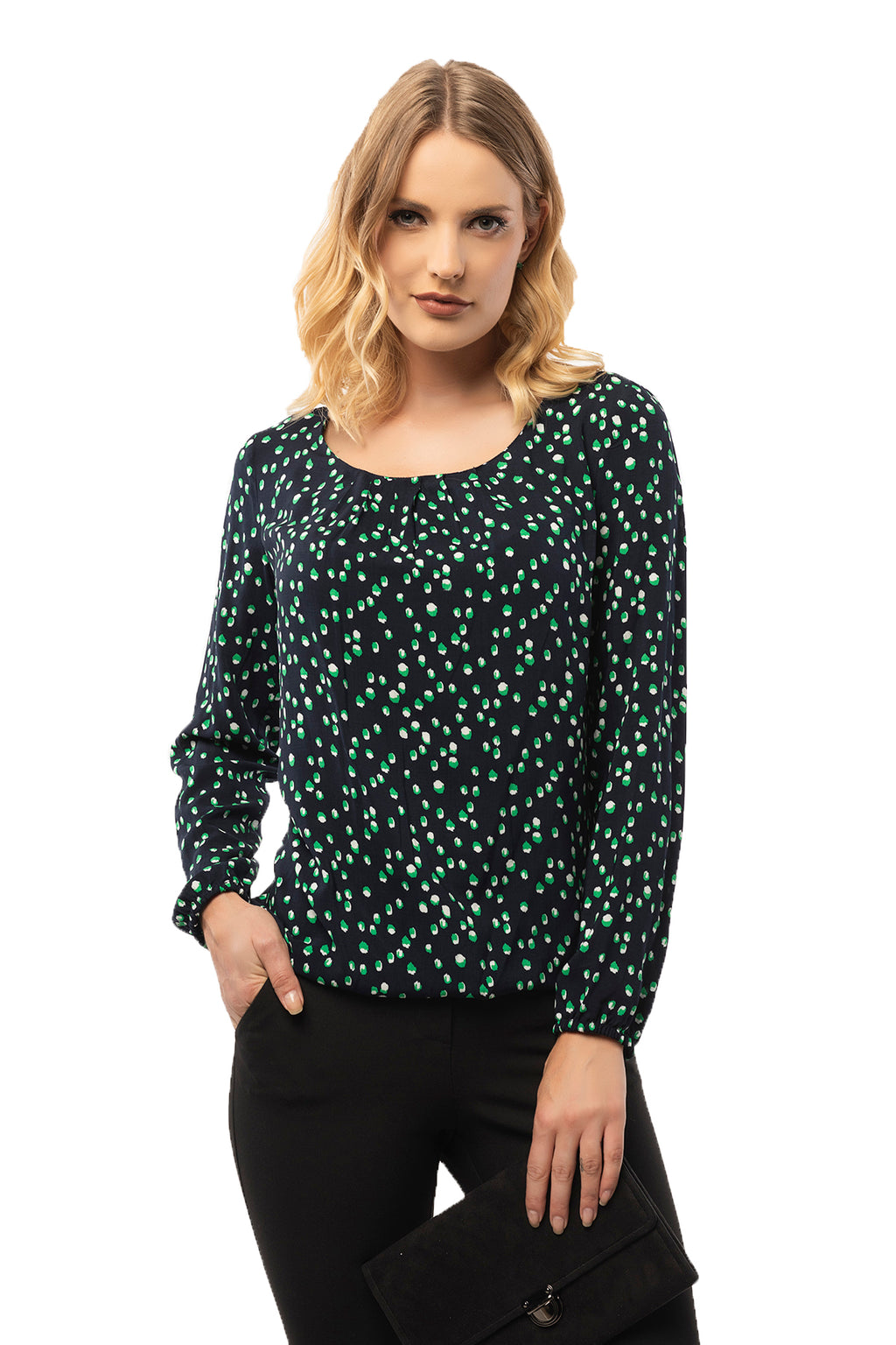 Gathered Bottom & Neck Navy Blouse - Long Sleeve