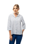 Side Slit Detail Front Button Down Shirt- Three Quarter Sleeve