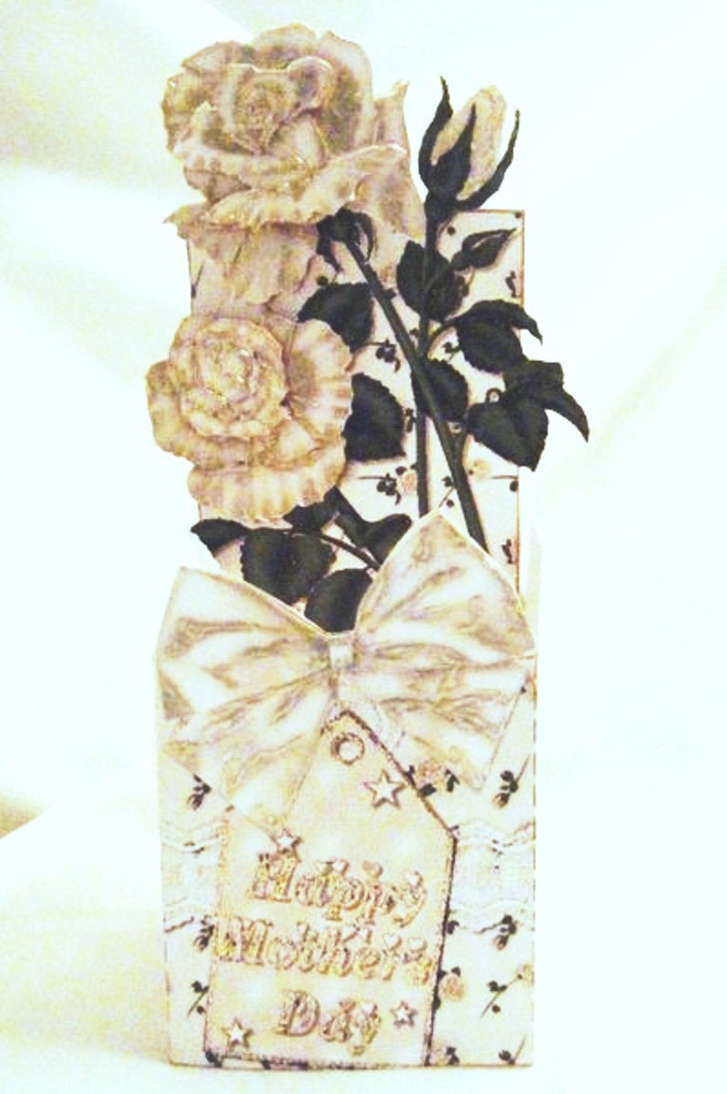 Mother's Day White Roses 3D Box Card