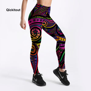 Women Summer Pants Color Totem Printed Black Sexy Leggings Plus Size Casual Street Wear High Waist Leggings