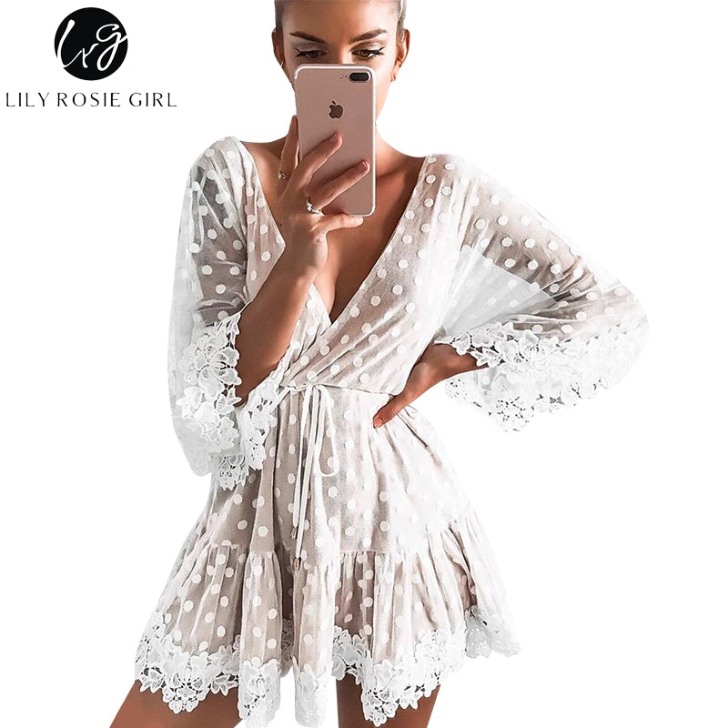 Lily Rosie Girl White Lace Dot Women Mini Dresses 2019 Summer Sexy V Neck Party Beach Mesh Dress Backless Flare Sleeve Vestidos