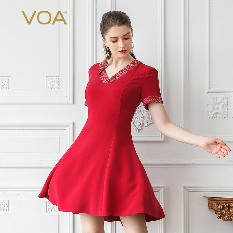VOA Heavy Silk Big Size Red Summer Midi Dress Basic Women Dresses Sexy V Neck Slim Short Sleeve Office Brief sukienka A778