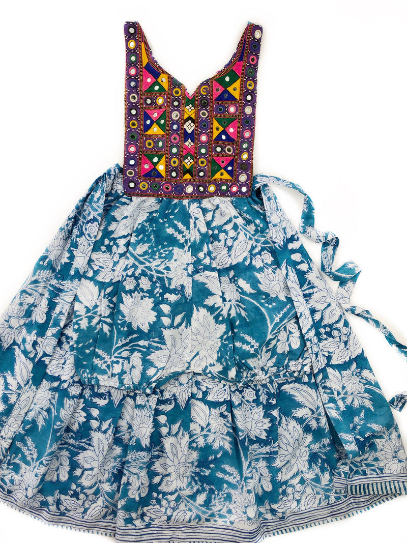 5/6 Years-Banjara romper with block print wrap skirt