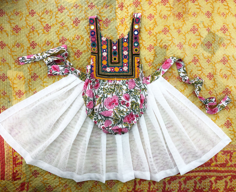 0-9 Months-Banjara romper with tulle wrap skirt