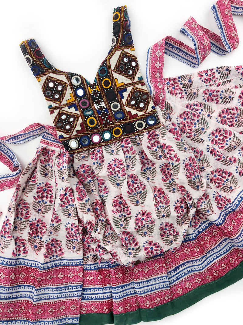 0-9 Months-Banjara romper with block print wrap skirt