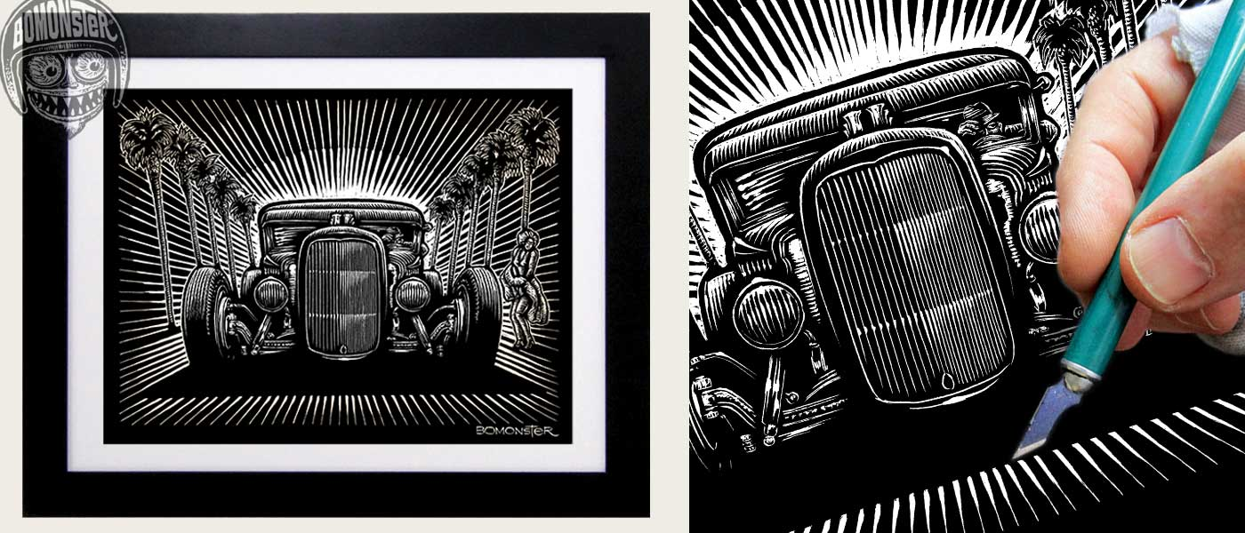 bomonster scratchboard art hollywood hot rod