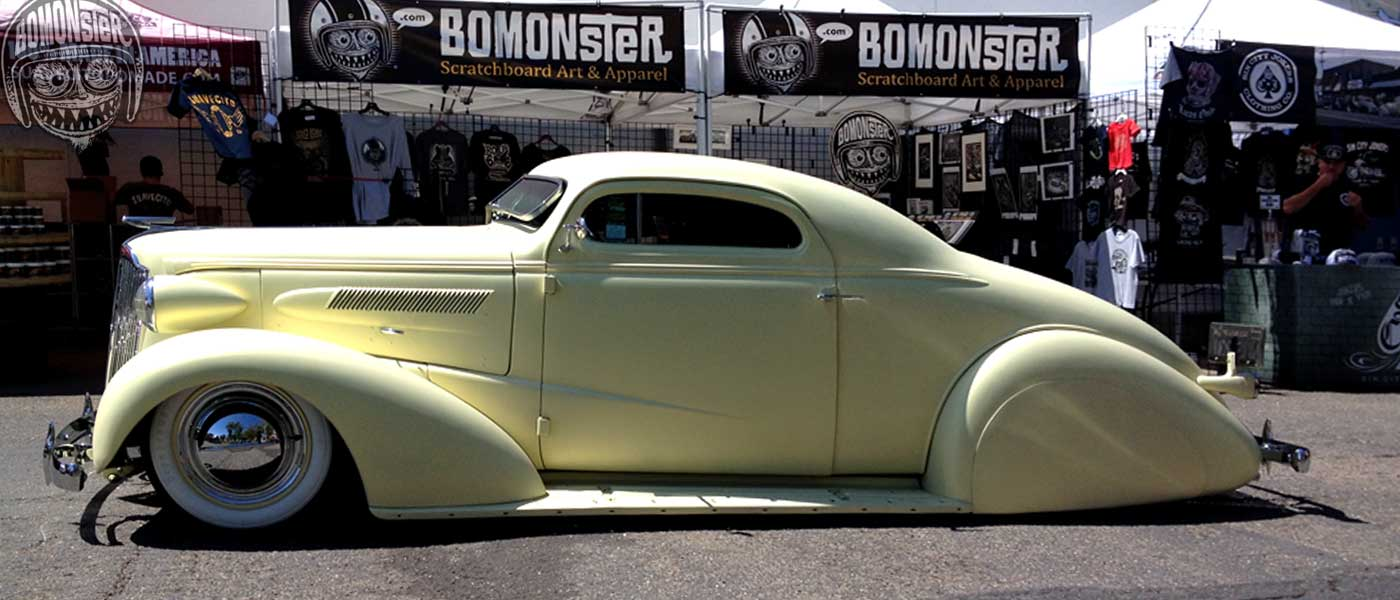 1937 chevy custom in front of the bomonster booth in santa maria