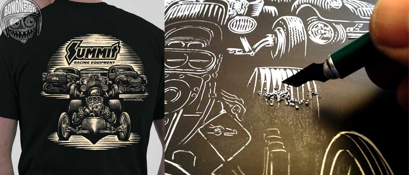 bomonster's scratchboard design for summit racing equipment t-shirt
